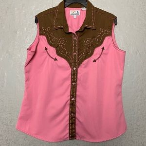 Panhandle Slim Sleeveless Western Button Up XL